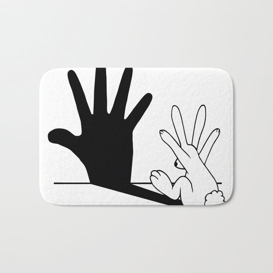 Rabbit Hand Shadow Bath Mat