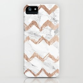 Chic faux rose gold chevron white marble pattern iPhone Case
