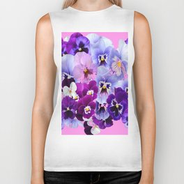 SPRING COLLECTION PURPLE-PINK PANSIES Biker Tank