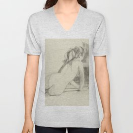 Female Nude Drawing of Woman Back View Charcoal Black and Beige Art Unisex V-Neck