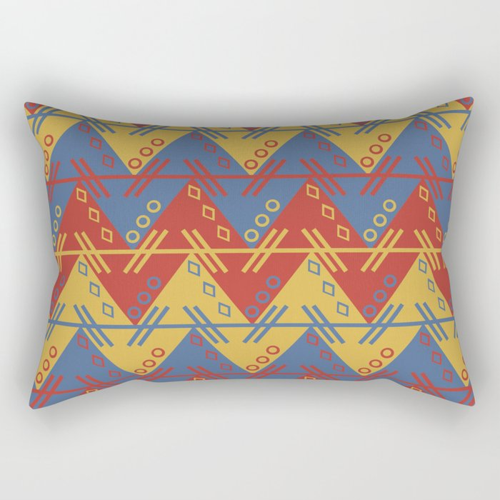 Tribal Zigzag Line Pattern Rectangular Pillow