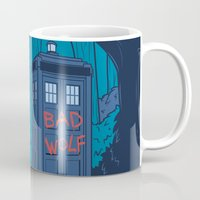 bad wolf Mugs featuring Big Bad Wolf by Karen Hallion Illustrations