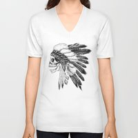 native american V-neck T-shirts featuring Native American by Motohiro NEZU