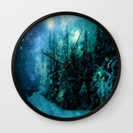 Galaxy Winter Forest Blue Teal Wall Clock