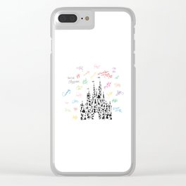 black and white character castle with rainbow signatures Clear iPhone Case