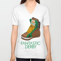 sneakers V-neck T-shirts featuring Horse Sneakers by TurkeysDesign
