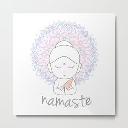 Cute Buddha sending greetings The word 'Namaste' is a respectful greeting also called 'Namaskar' Metal Print