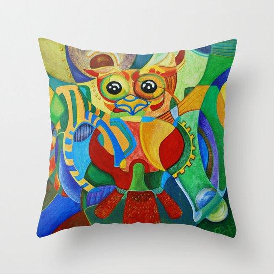 Rainbow Owl Throw Pillow