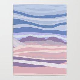 Bohemian Waves // Abstract Baby Blue Pinkish Blush Plum Purple Contemporary Light Mood Landscape  Poster