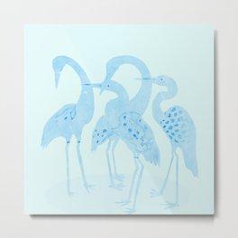 Mid Century Birds Watercolor Light Blue Metal Print