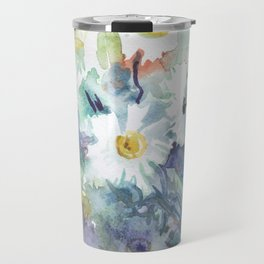 watercolor drawing - white daisies, beautiful bouquet, painting Travel Mug