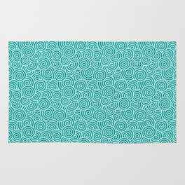 Chinese Spirals | Abstract Waves | Teal and White Rug