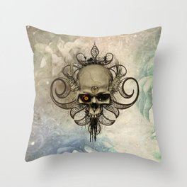 Amazing skull with wings and grunge Throw Pillow