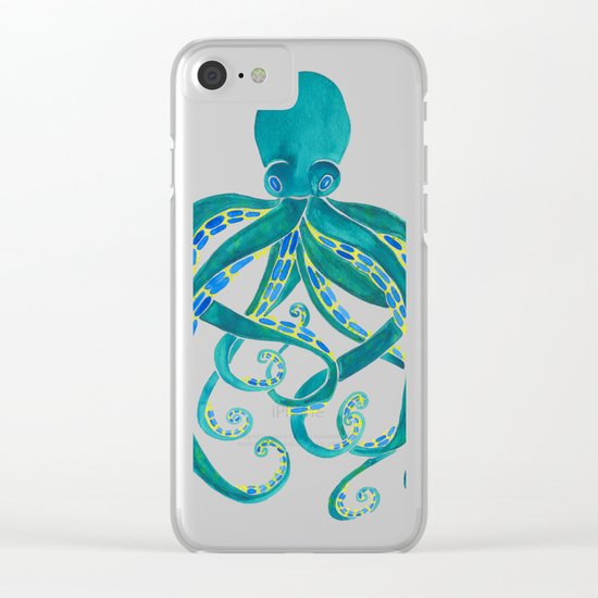 Watercolor Octopus Clear iPhone Case
