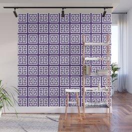 Indigo Purple Greek Key Pattern Design Wall Mural