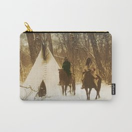 The winter camp - Crow (Apsaroke) Indians Carry-All Pouch