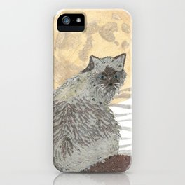 CAT, Moon, Mixed Media iPhone Case