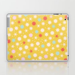 Vintage Christmas Wrapping Paper Pattern Design Mustard Stars & Dots Laptop & iPad Skin