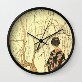 Girl under a Willow Tree by Emil Orlik - Czech Japonist Drawing Wall Clock