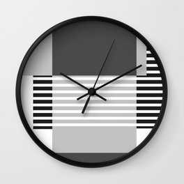 Marfa Abstract Geometric Print in Black and White Wall Clock