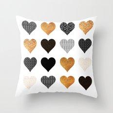 Gold, black, white hearts Throw Pillow