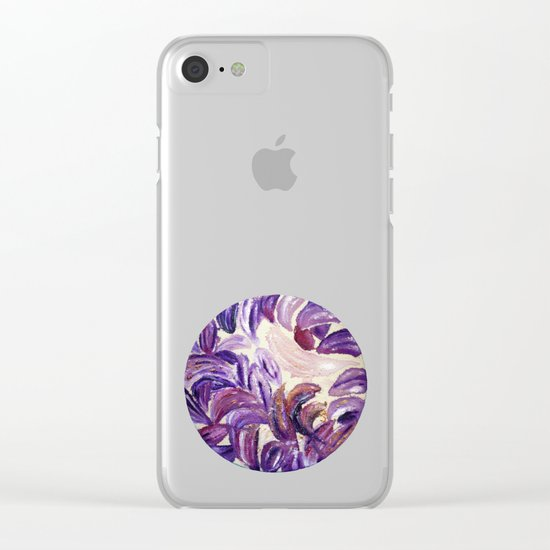 Purple Leaves with Gold Flakes Clear iPhone Case