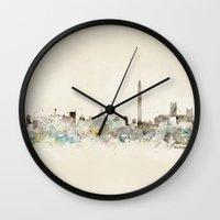 washington dc Wall Clocks featuring washington dc skyline by bri.buckley