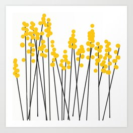 Hello Spring! Yellow/Black Retro Plants on White #decor #society6 #buyart Art Print
