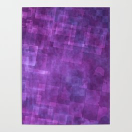 Abstract Purple Squares Digital Painting Poster