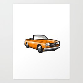 Vintage Cabriolet Top-Down Car Isolated Retro Art Print