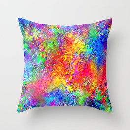 Psychedelic Blacklight Splatter  Throw Pillow