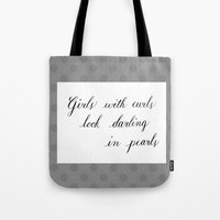 girls Tote Bags featuring Girls by Pistache and Rose