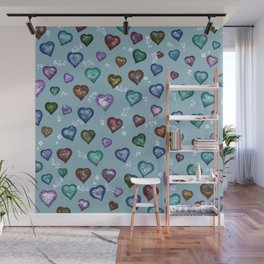 Lovely and Cute B teal Wall Mural