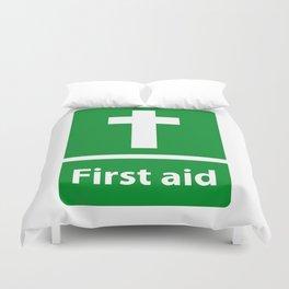 First Aid Cross - Christian Sign Illustration Duvet Cover