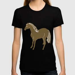 Brown Horse Printmaking Art T-shirt