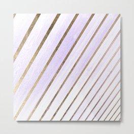 Chic purple gradient wood grain faux gold stripes Metal Print