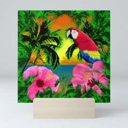 Palm Trees And Island Sunsets Mini Art Print
