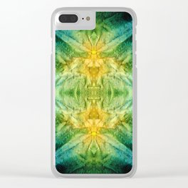 Emerald Kiss Abstract Art by Sharon Cummings Clear iPhone Case