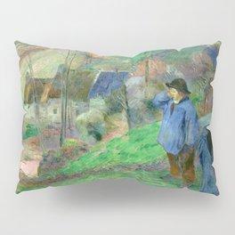 """Paul Gauguin """"Landscape of Brittany - L'Hiver à Pont-Aven, petit Breton et ramasseuse"""" Pillow Sham"""