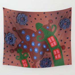 slanted green houses Wall Tapestry