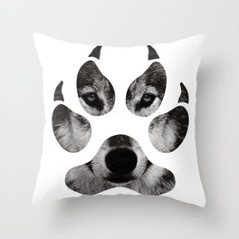 Wolf's Paw Black and White Throw Pillow