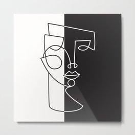 6-104-1m, Black & White, Woman Face One Line Art, Boho decor, Metal Print