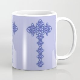 'Blue Faith' -  Cross of lace in blue Coffee Mug