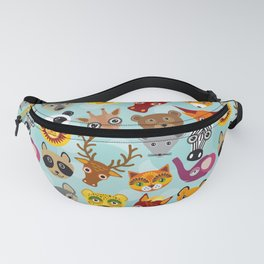 pattern with funny cute animal face on a blue background Fanny Pack