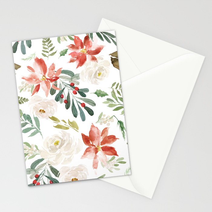 White roses & rusty-red Christmas poinsettia pattern Stationery Cards