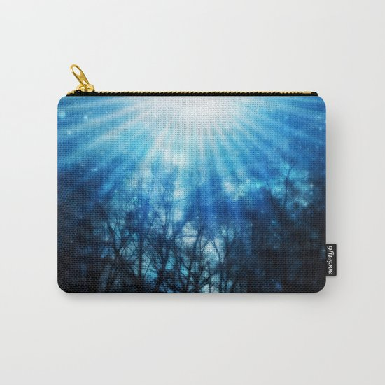 There Is Hope In the Light : Black Trees Blue Space Carry-All Pouch