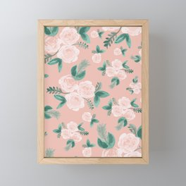 Watercolor Roses in Soft Pink Framed Mini Art Print