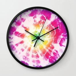 Tie-Dye Sunburst Rainbow Wall Clock