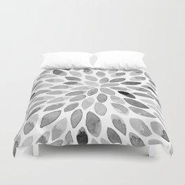 Watercolor brush strokes - black and white Duvet Cover