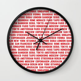 Famous City pattern Red & White Wall Clock